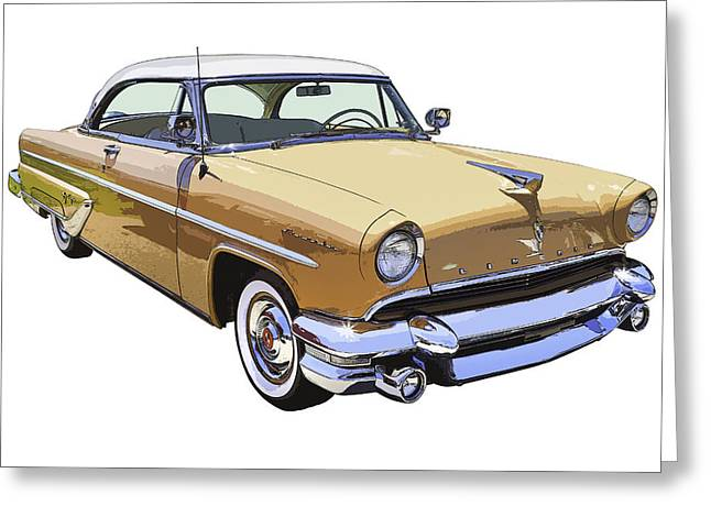 Made Digital Art Greeting Cards - 1955 Lincoln Capri Fine Art Illustration  Greeting Card by Keith Webber Jr