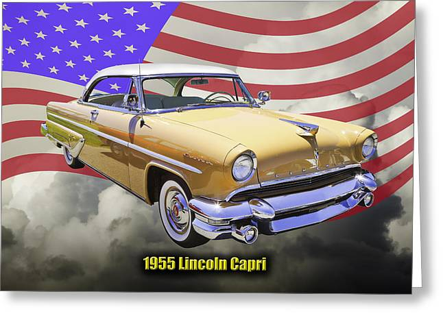 Motor Vehicles Greeting Cards - 1955 Lincoln Capri Luxury Car Greeting Card by Keith Webber Jr