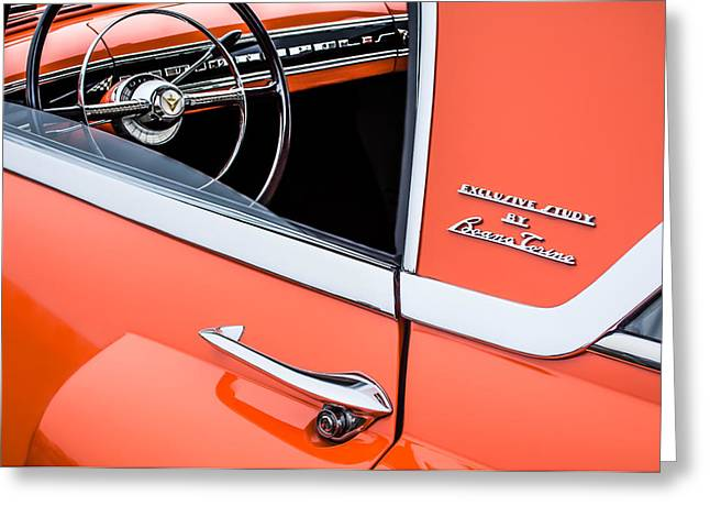 1955 Greeting Cards - 1955 Lincoln Indianapolis Boano Coupe Side Emblem - Steering Wheel -0358c Greeting Card by Jill Reger