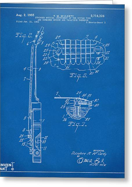 Les Greeting Cards - 1955 McCarty Gibson Les Paul Guitar Patent Artwork 2 Blueprint Greeting Card by Nikki Marie Smith
