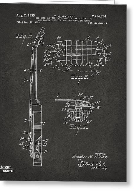 Cave Greeting Cards - 1955 McCarty Gibson Les Paul Guitar Patent Artwork 2 - Gray Greeting Card by Nikki Marie Smith