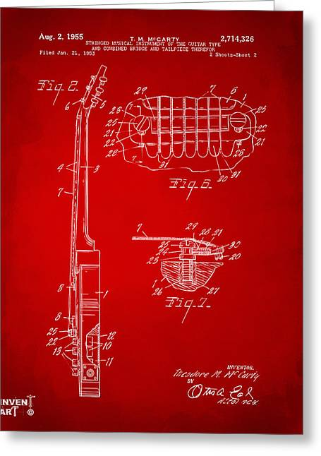 Les Greeting Cards - 1955 McCarty Gibson Les Paul Guitar Patent Artwork 2 Red Greeting Card by Nikki Marie Smith