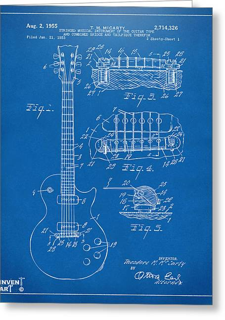 Player Drawings Greeting Cards - 1955 McCarty Gibson Les Paul Guitar Patent Artwork Blueprint Greeting Card by Nikki Marie Smith