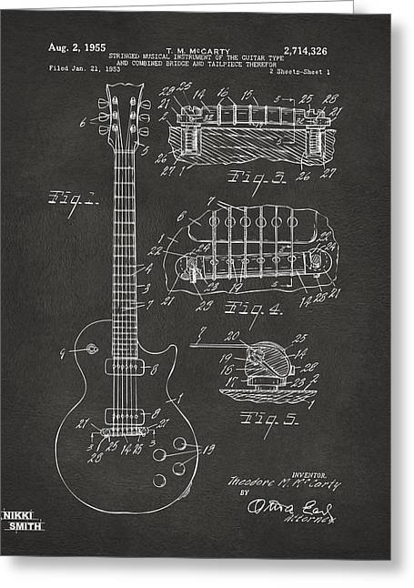 Player Drawings Greeting Cards - 1955 McCarty Gibson Les Paul Guitar Patent Artwork - Gray Greeting Card by Nikki Marie Smith