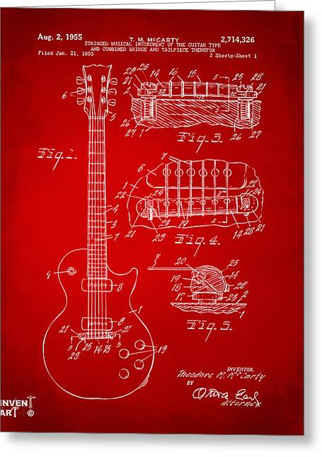 Player Drawings Greeting Cards - 1955 McCarty Gibson Les Paul Guitar Patent Artwork Red Greeting Card by Nikki Marie Smith