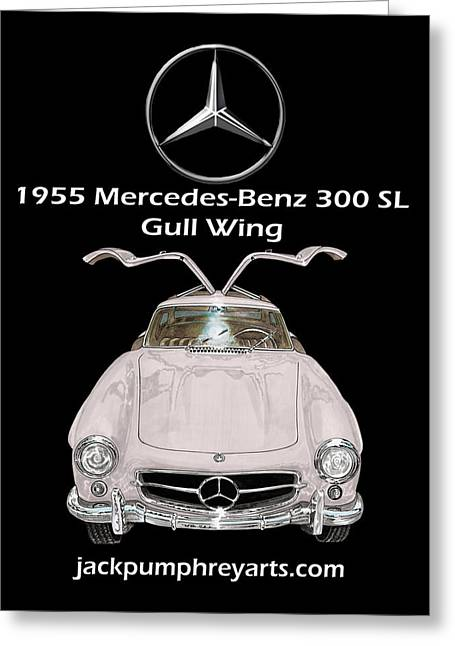 Best Sports Mixed Media Greeting Cards - 1955 Mercedes Benz 300 S L Gull Wing Greeting Card by Jack Pumphrey