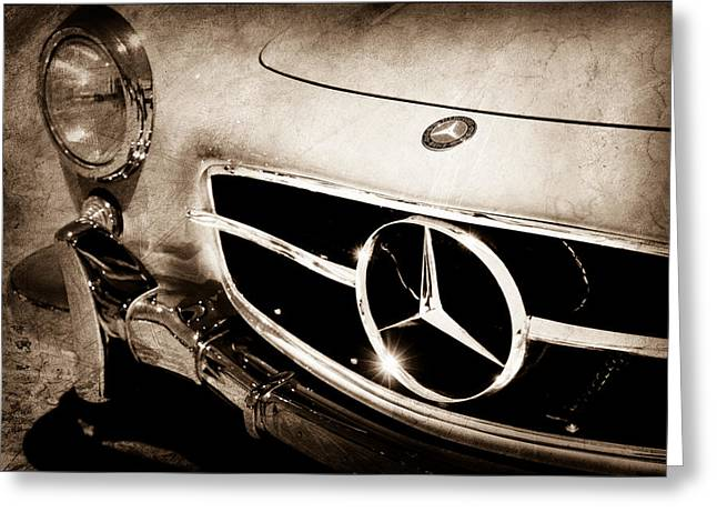 Gullwing Greeting Cards - 1955 Mercedes-Benz 300SL Gullwing Grille Emblem Greeting Card by Jill Reger
