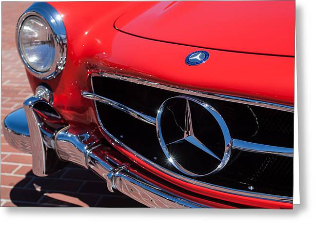 1955 Mercedes-Benz 300SL GullWing Grille Emblems Greeting Card by Jill Reger
