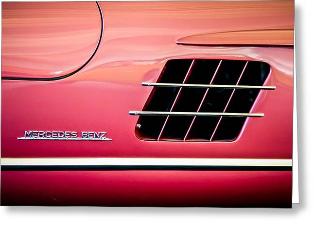 Mercedes 300sl Gullwing Greeting Cards - 1955 Mercedes-Benz 300SL Gullwing Sidel Emblem -0754c Greeting Card by Jill Reger