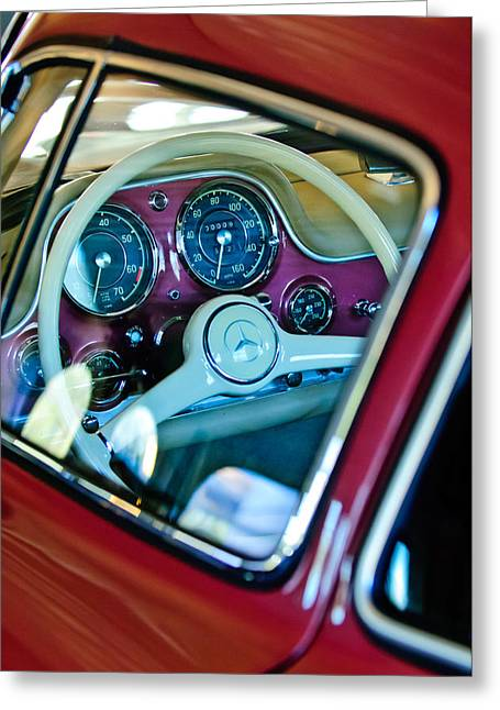 Mercedes 300sl Gullwing Greeting Cards - 1955 Mercedes-Benz 300SL Gullwing Steering Wheel Emblem Greeting Card by Jill Reger