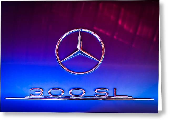 1955 Mercedes-benz Gullwing 300 Sl Emblem Greeting Card by Jill Reger