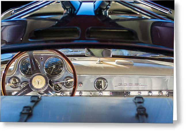 Gullwing Greeting Cards - 1955 Mercedes-Benz Gullwing Dashboard - Steering Wheel Greeting Card by Jill Reger