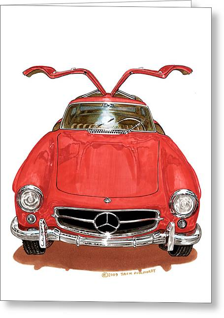 1955 Paintings Greeting Cards - 1955 Mercedes Benze 300 S L  Greeting Card by Jack Pumphrey