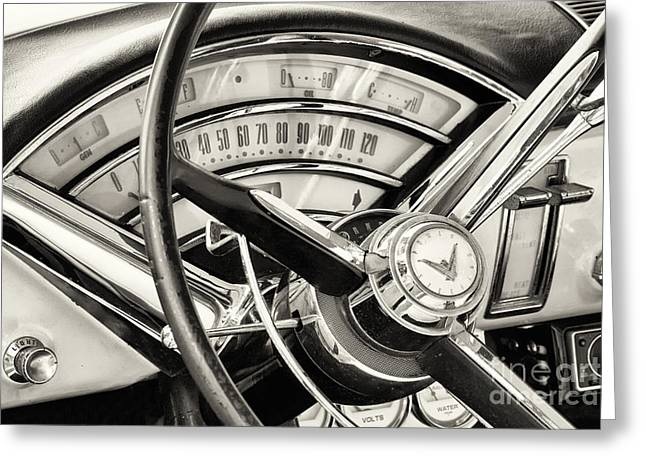 Intruments Greeting Cards - 1955 Mercury Monterey Dashboard Greeting Card by Jerry Fornarotto