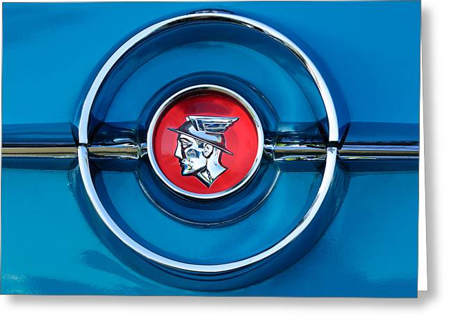 1955 Greeting Cards - 1955 Mercury Monterey  Emblem Greeting Card by Jill Reger