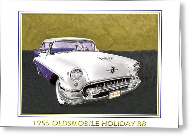 1955 Drawings Greeting Cards - 1955 Olds Holiday 88 Greeting Card by Jack Pumphrey