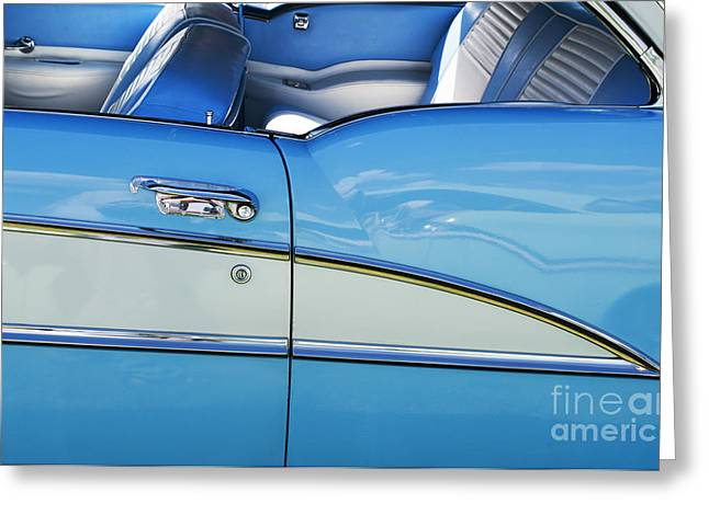 Side Panel Greeting Cards - 1955 Oldsmobile Holiday 98 Coupe Greeting Card by Tim Gainey