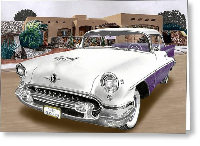 1950s Portraits Paintings Greeting Cards - 1955 Oldsmobile Super 88 Greeting Card by Jack Pumphrey