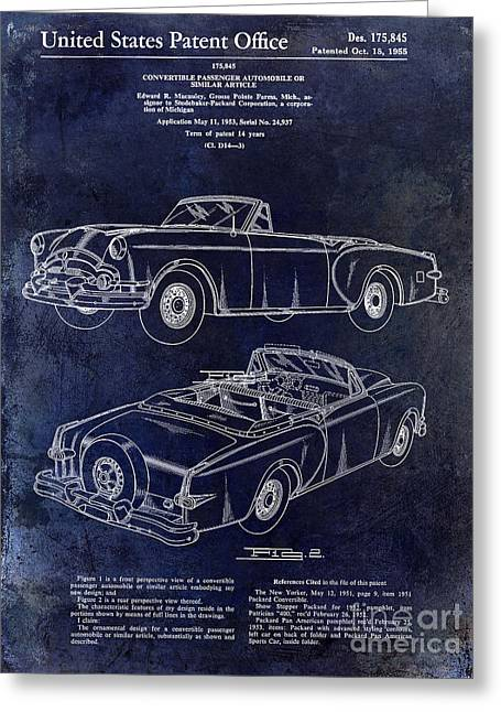 1955 Greeting Cards - 1955 Packard Convertible Patent Drawing Blue Greeting Card by Jon Neidert