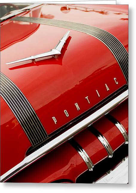1955 Greeting Cards - 1955 Pontiac Hood Ornament - Emblem -0968c Greeting Card by Jill Reger