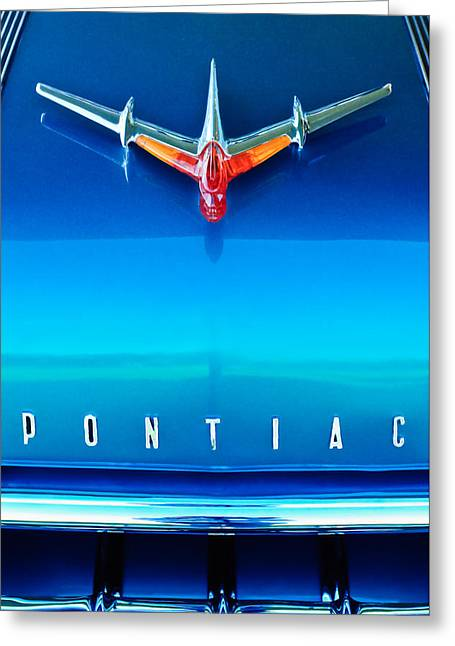 Collector Hood Ornament Greeting Cards - 1955 Pontiac Safari Hood Ornament 4 Greeting Card by Jill Reger