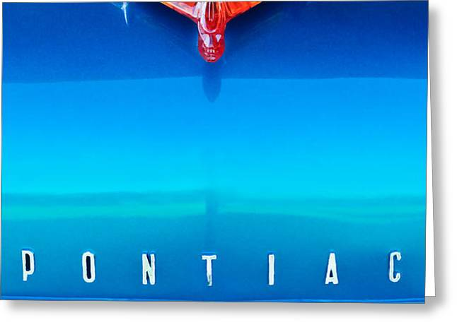 1955 Pontiac Safari Hood Ornament 4 Greeting Card by Jill Reger