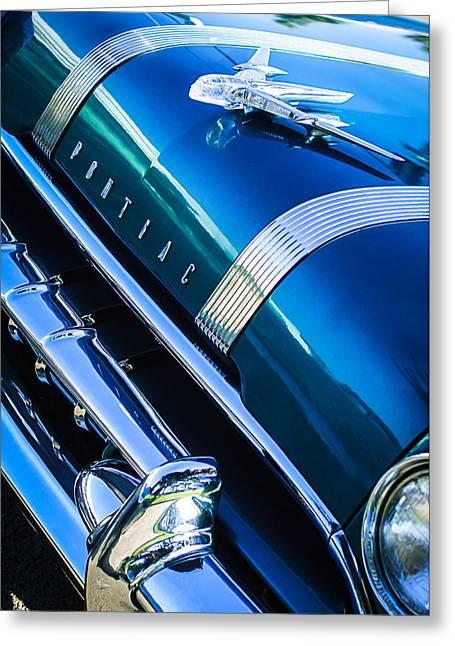 1955 Greeting Cards - 1955 Pontiac Star Chief Grille Emblem - Hood Ornament Greeting Card by Jill Reger