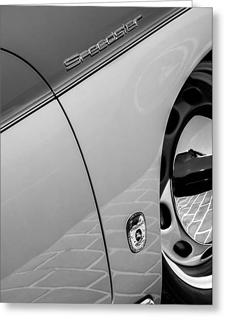 1955 Greeting Cards - 1955 Porsche 356 Pre-A 1500 Speedster Side Emblem Greeting Card by Jill Reger