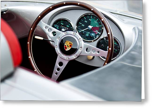 Steering Wheel Greeting Cards - 1955 Porsche Spyder Replica Steering Wheel Emblem Greeting Card by Jill Reger