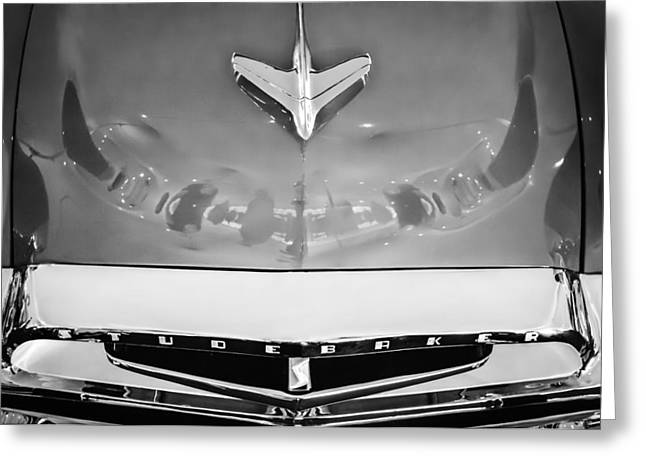 1955 Greeting Cards - 1955 Studebaker Champion Conestoga Custom Wagon Hood Ornament - Grille Emblem -0325bw Greeting Card by Jill Reger