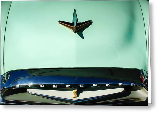 1955 Greeting Cards - 1955 Studebaker Commander Sedan Grille Emblem - Hood Ornament -0578c Greeting Card by Jill Reger