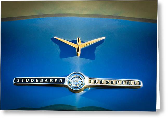 1955 Greeting Cards - 1955 Studebaker President Emblem Greeting Card by Jill Reger