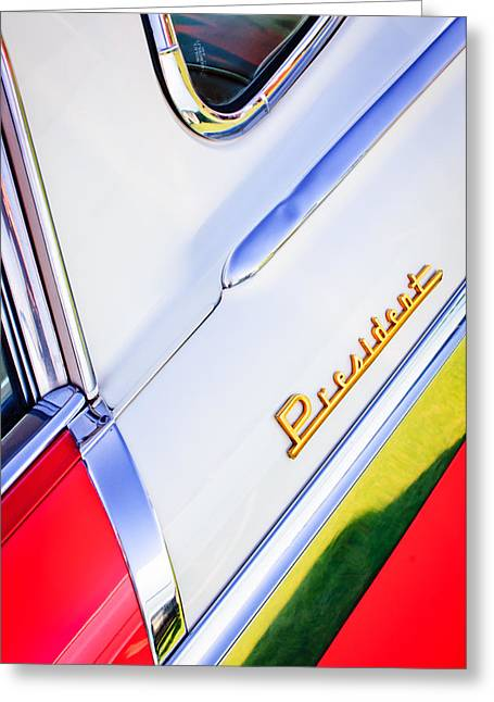 1955 Greeting Cards - 1955 Studebaker President Side Emblem Greeting Card by Jill Reger