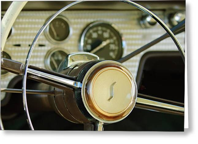 1955 Studebaker President Steering Wheel Emblem Greeting Card by Jill Reger