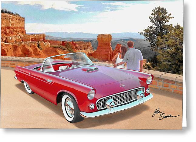 Valiant Greeting Cards - 1955 THUNDERBIRD AT  BRYCE CANYON  classic Ford art sketch rendering art sketch rendering            Greeting Card by John Samsen