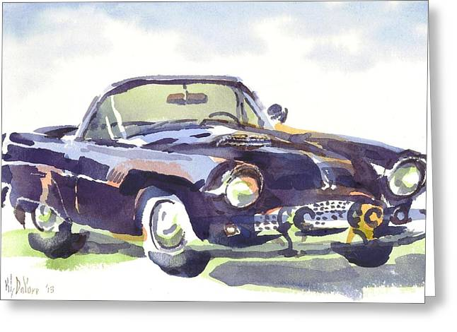 1955 Paintings Greeting Cards - 1955 Thunderbird Greeting Card by Kip DeVore
