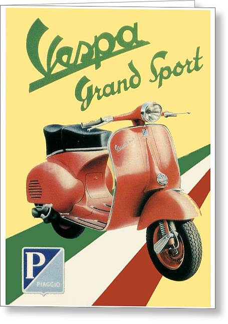Motor Scooters Greeting Cards - 1955 - Vespa Grand Sport Motor Scooter Advertisement - Color Greeting Card by John Madison