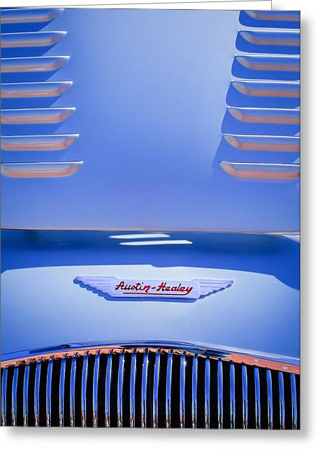 Competition Photographs Greeting Cards - 1956 Austin-Healey 100M BN2 Factory Le Mans Competition Roadster Hood Emblem Greeting Card by Jill Reger