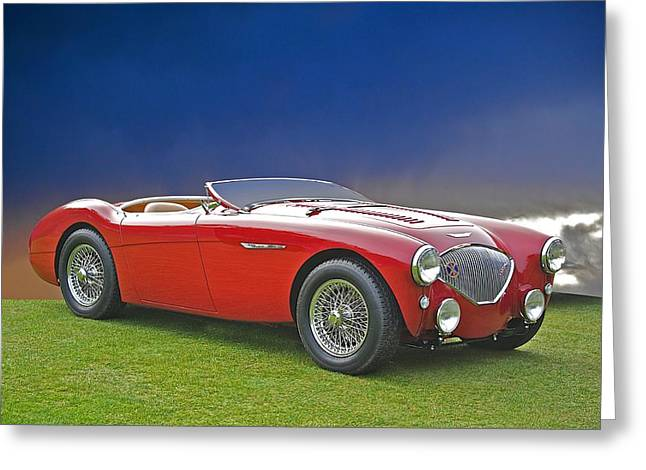 Rally Greeting Cards - 1956 Austin Healey 100M Greeting Card by Dave Koontz