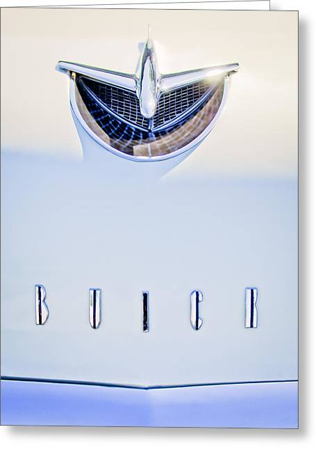Vintage Hood Ornaments Greeting Cards - 1956 Buick Special Hood Ornament Greeting Card by Jill Reger