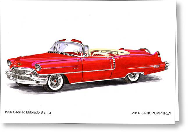 Gold Buyer Greeting Cards - 1956 Cadillac Series 62 Convertible Greeting Card by Jack Pumphrey