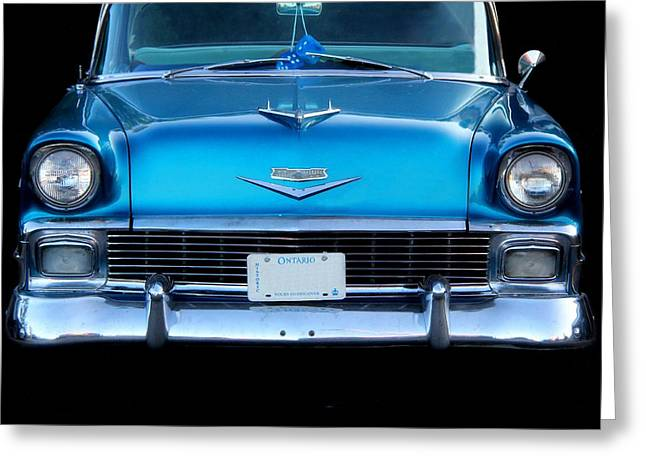 1956 Cheverolet In Blue Greeting Card by Davandra Cribbie