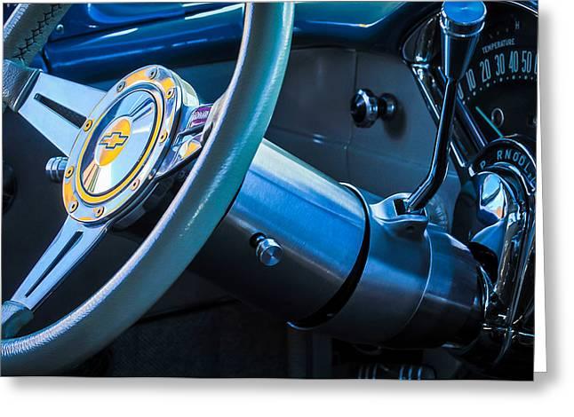 Wagon Greeting Cards - 1956 Chevrolet 210 2-Door Handyman Wagon Steering Wheel Emblem -189c Greeting Card by Jill Reger