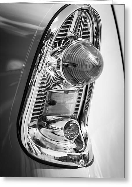 Wagon Greeting Cards - 1956 Chevrolet 210 2-Door Handyman Wagon Taillight -082bw Greeting Card by Jill Reger