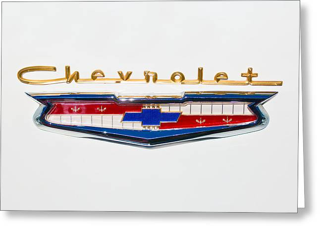 Transportation Greeting Cards - 1956 Chevrolet 210 Emblem Greeting Card by Jill Reger