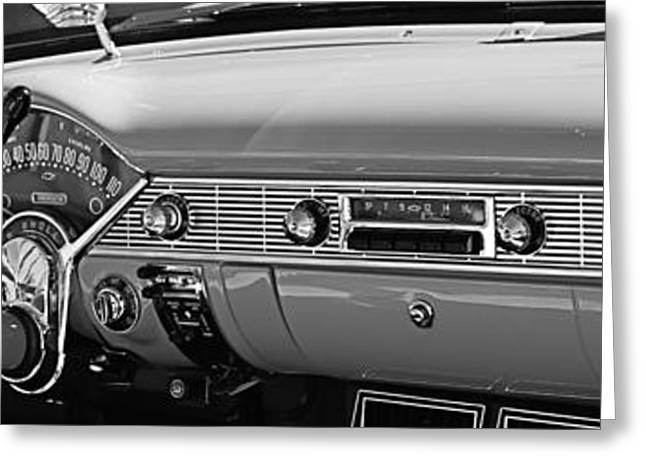 Vintage Greeting Cards - 1956 Chevrolet Belair Convertible Custom V8 Dashboard Greeting Card by Jill Reger