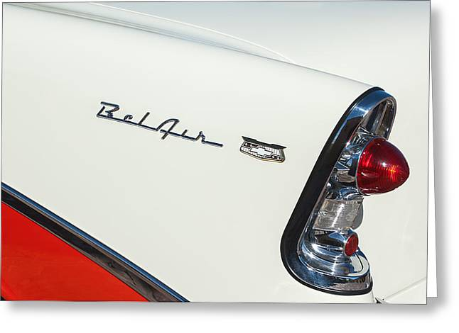 Belair Greeting Cards - 1956 Chevrolet Belair Coupe Taillight Greeting Card by Jill Reger