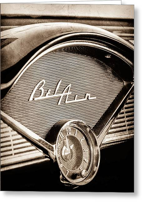 Dashboard Greeting Cards - 1956 Chevrolet Belair Dashboard Emblem - Clock Greeting Card by Jill Reger