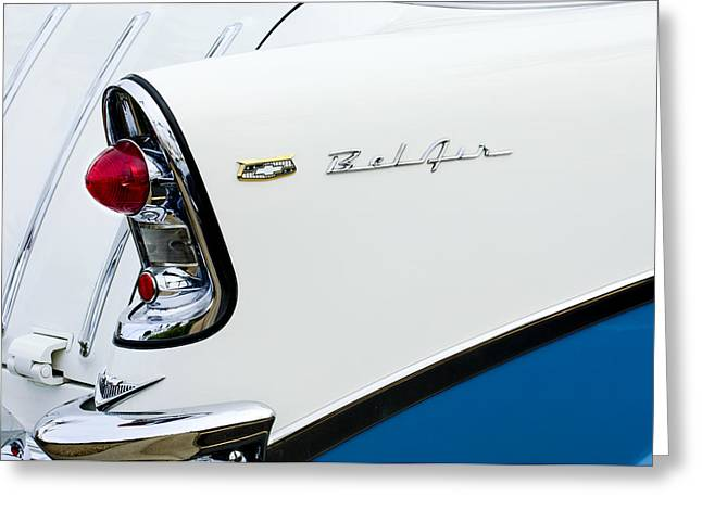 Tail Light Greeting Cards - 1956 Chevrolet Belair Tail Light Greeting Card by Jill Reger
