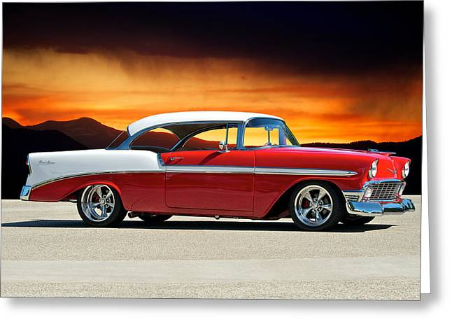 Slam Photographs Greeting Cards - 1956 Chevrolet Bitchn Bel Air Greeting Card by Dave Koontz